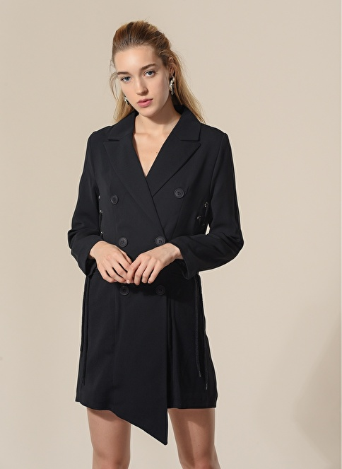 Agenda Bağlama Detaylı Ceket Elbise Siyah
